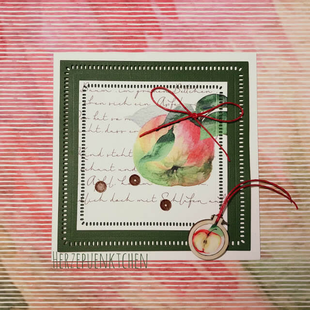 Schnelle Apfelkarte mit Geschenkanhänger
