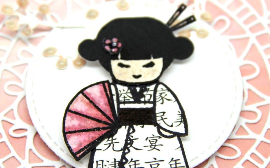 Geisha – Kimono mit japanischen Schriftzeichen