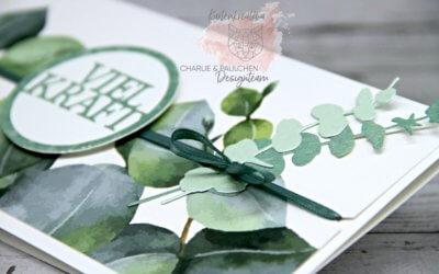 Genesungskarte mit Desigpapier Eukalyptus