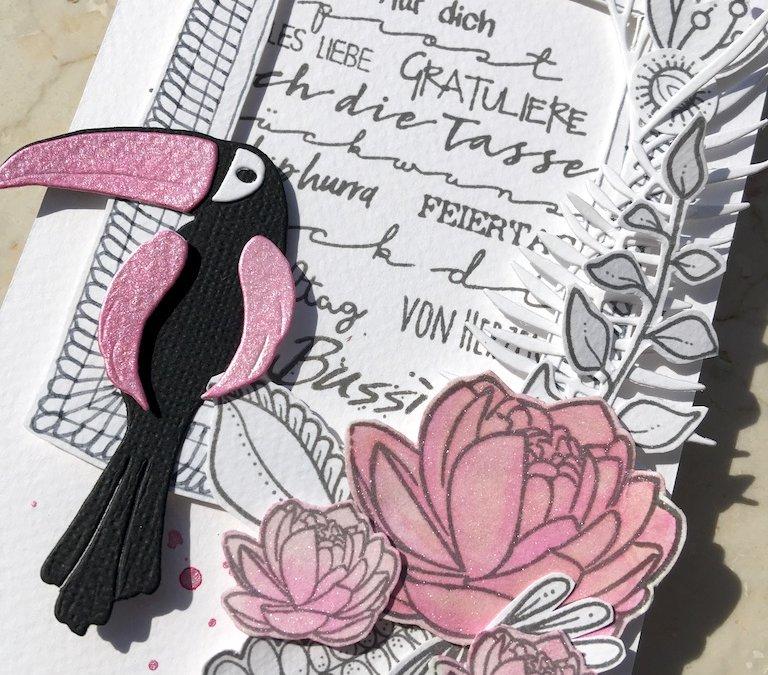sommerliche Glückwunschkarte -Tukan im Rahmen-